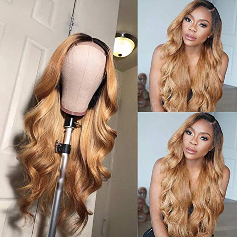 Lace Front Human Hair Wigs With Baby Hair 1B/27  Pre Plucked Ombre