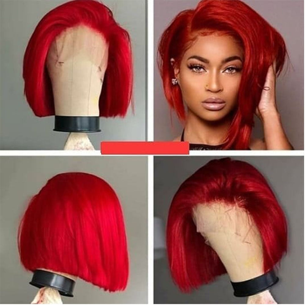 Red Straight  Lace Front Human Hair Wig Preplucked Hairline With Baby Hair