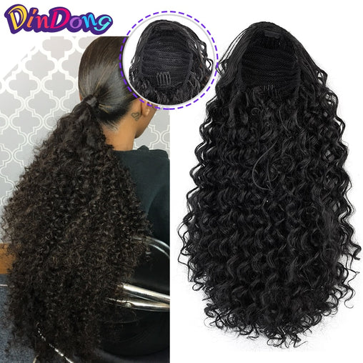 Synthetic clip In Warp Ponytail Hair Extension Curly Kinky Drawstring