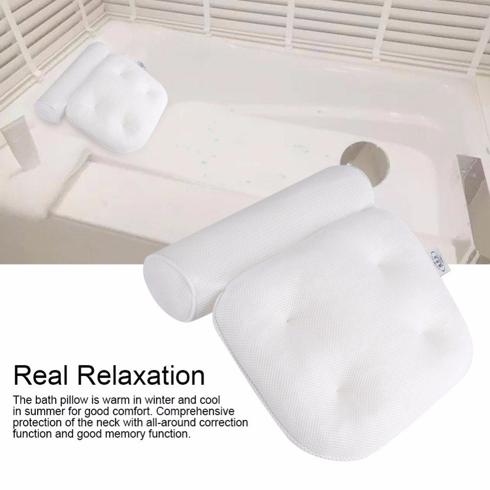 3D Mesh Spa Back Support Head Rest Pillow Non-Slip Cushioned Bath Tub Spa Pillow