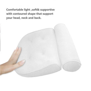 Anti-slip 3D SPA Breathable Home Bath Pillow Head Neck Rest Relax 4 Suction Cup