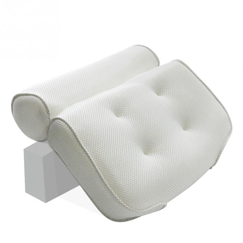 Neck Relaxation Spa Suction Cup Pillow Support Head Non-Slip Soft 3D Bathtub