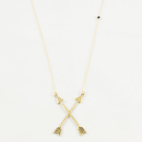 BRONZE CROSSED ARROW NECKLACE