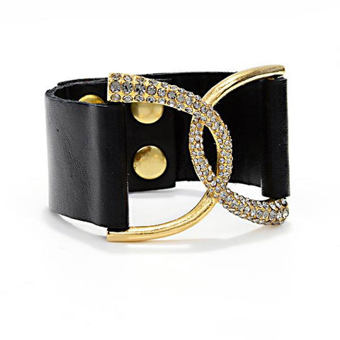 CURVED BAR BRACELET W/LEATHER STRAP BLK DIAMOND