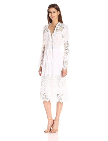 CREOLE LACE BELL SLEEVE MAXI-WHITE