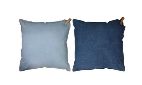SQUARE DENIM PILLOW WITH LEATHER HANDLE