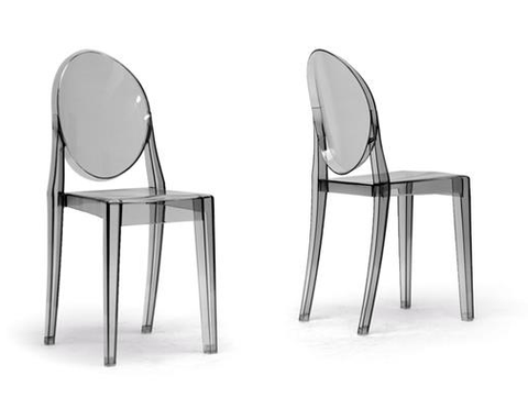 Smoke Gray Ghost Side Chair