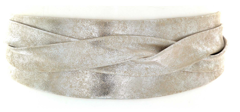 METALLIC LEATHER WRAP BELT
