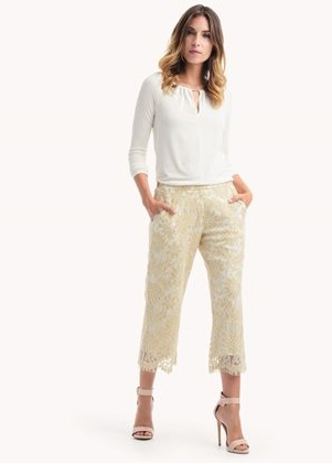 STELLA LACE CROPPED WIDE LEG PANT