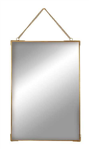 BRASS HANGING MIRROR WITH CHAIN