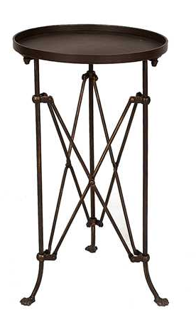 FRENCH INDUSTRIAL METAL SIDE TABLE