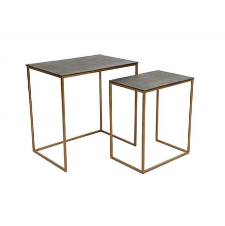 CAST ALUMINUM AND IRON NESTING TABLES S/2