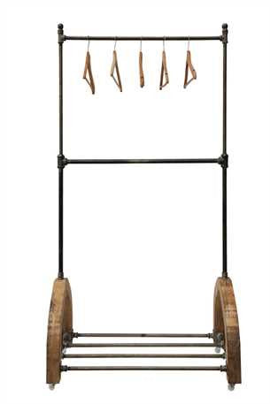 METAL & WOOD APPAREL RACK