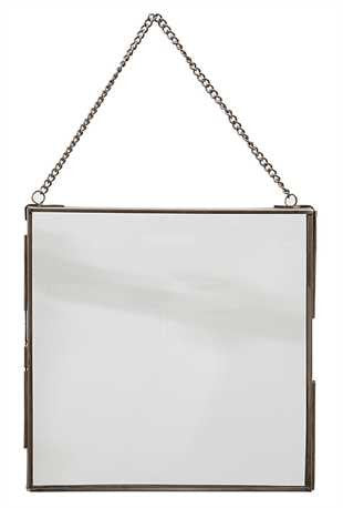"7 3/4"" SQUARE BRASS & GLASS HANGING FRAME"