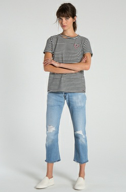 STRIPED HARLOW DISTRESSED BFF TEE