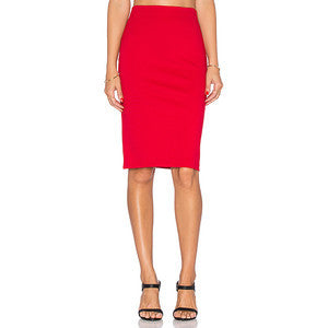 ELECTRIC ROUGE PONTE PENCIL SKIRT