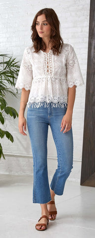 JESS FRINGE EMBROIDERY LACE TOP
