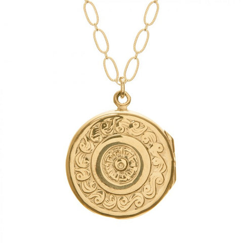 LONG ROUND GOLD LOCKET