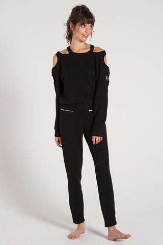 SALLY - SHOULDER CUTOUT SWEATSHIRT WITH DESTRUCTION