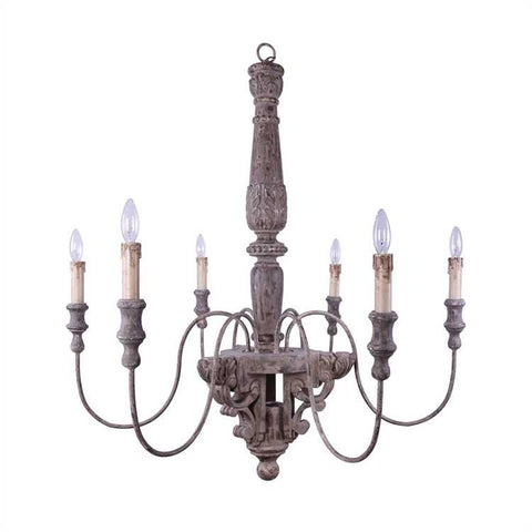 WOOD & METAL CHANDELIER WITH 6 LIGHTS