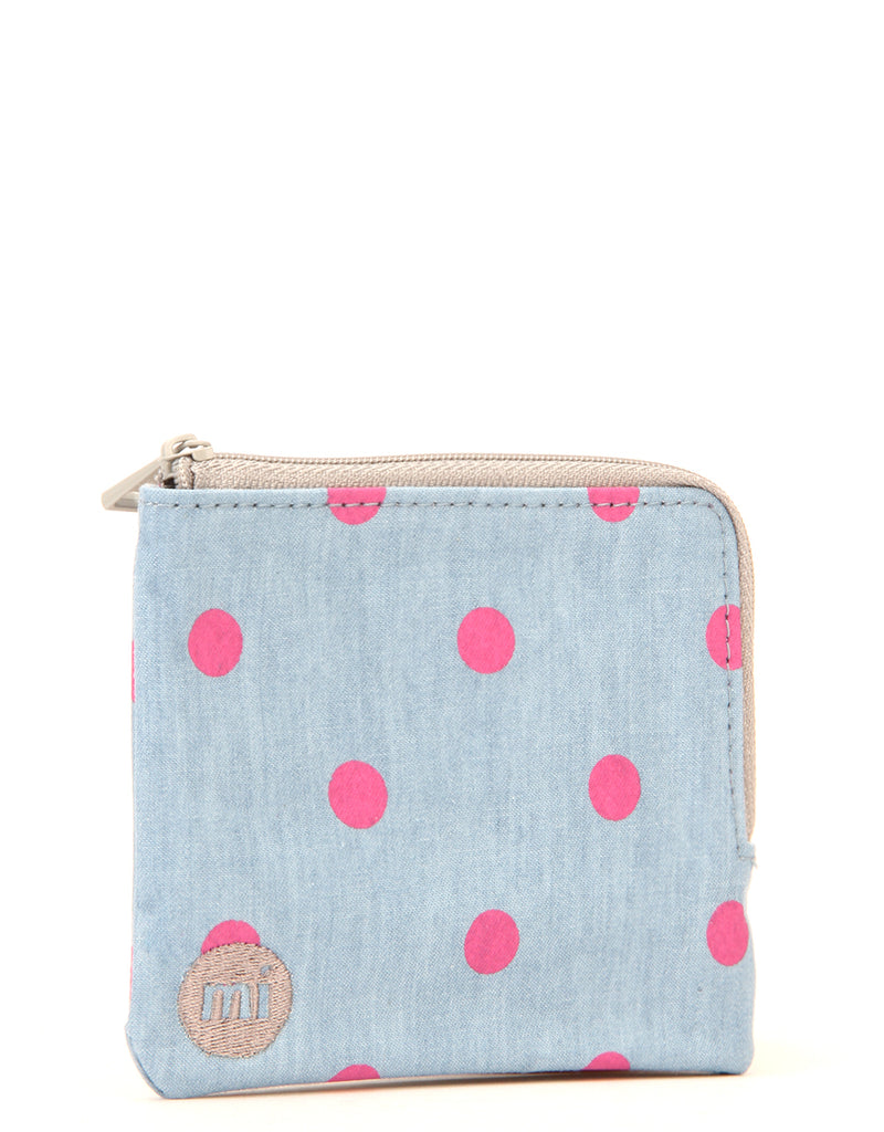 Mi-Pac Coin Holder - Denim Polka Pink