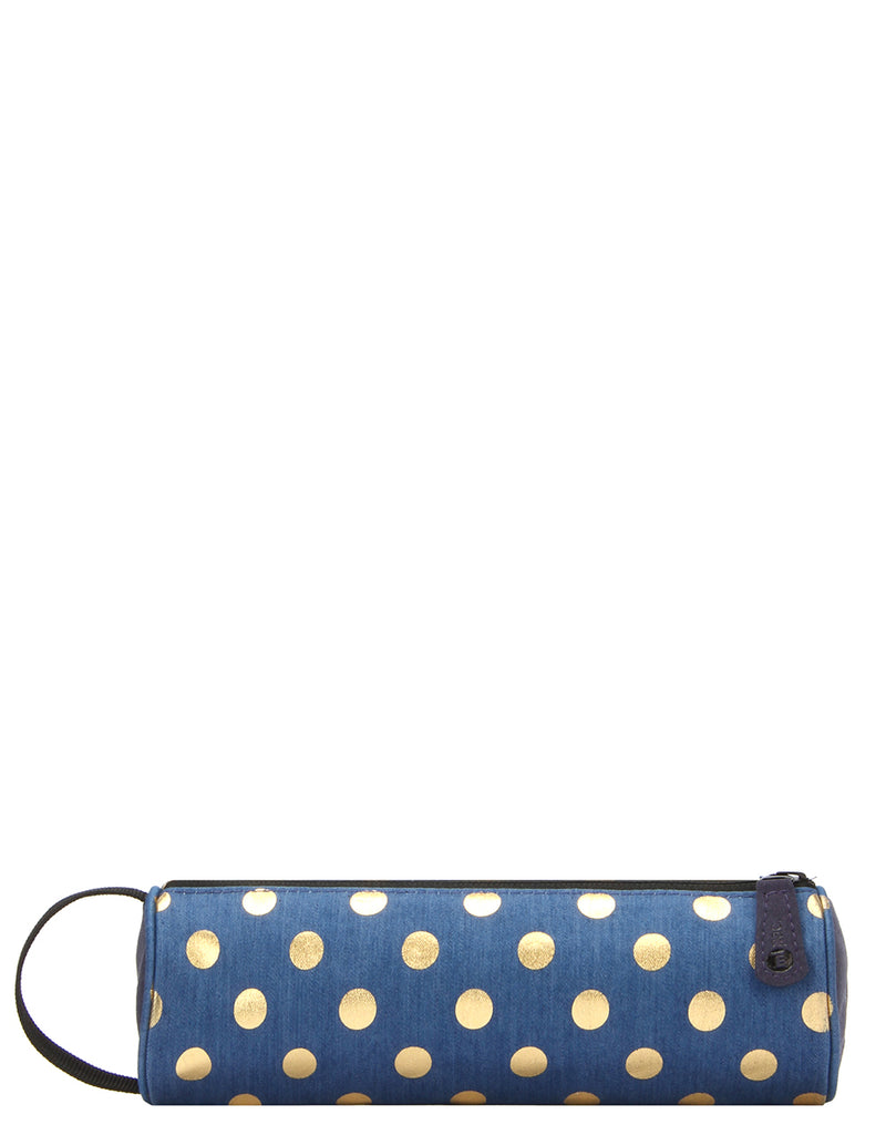 Mi-Pac Case - Denim Polka Indigo Gold