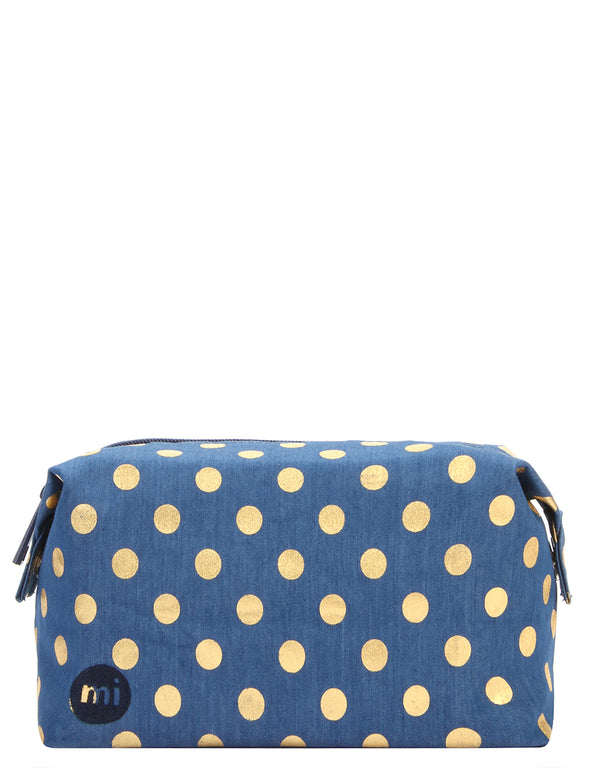 Mi-Pac Wash Bag - Denim Polka Indigo/Gold