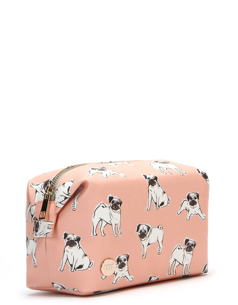 Mi-Pac Gold Wash Bag - Pugs Peach