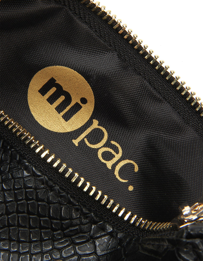 Mi-Pac Gold Make Up Bag - Python Black