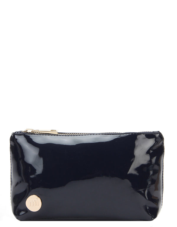 Mi-Pac Gold Make Up Bag - Patent Navy