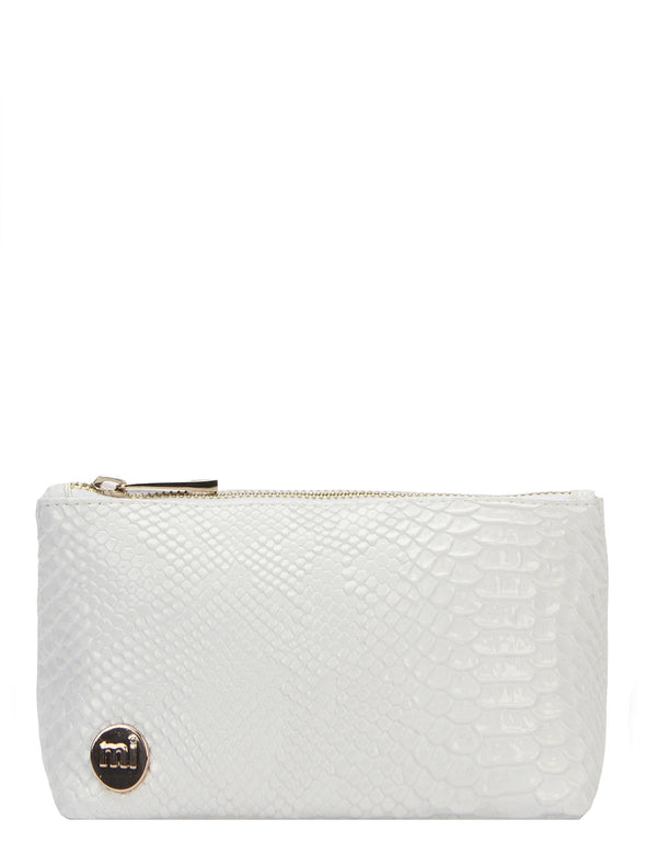 Mi-Pac Gold Make Up Bag - Patent Python White
