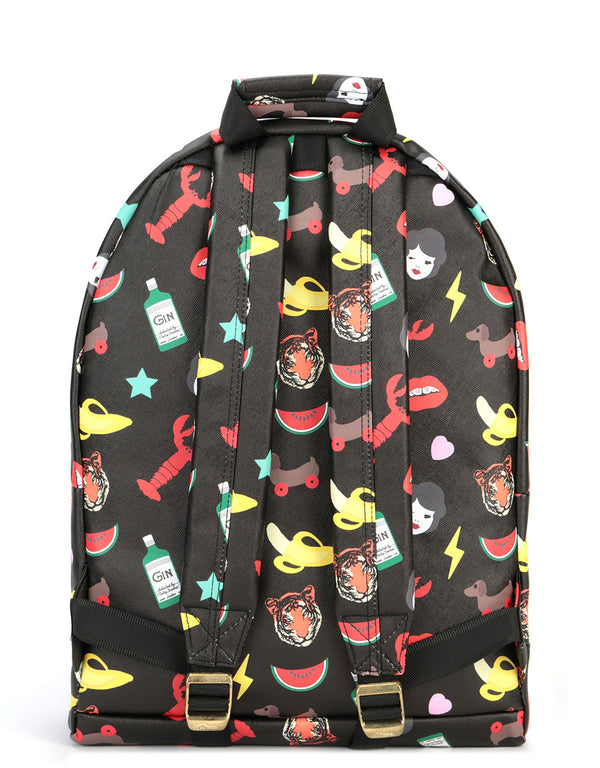 Mi-Pac x Tatty Devine Gold Backpack - Characters Black