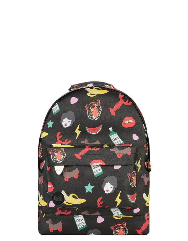 Mi-Pac x Tatty Devine Gold Mini Backpack - Characters Black