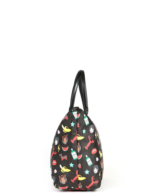 Mi-Pac x Tatty Devine Gold Weekender - Characters Black
