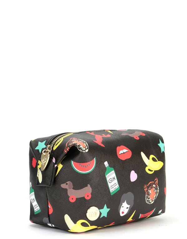 Mi-Pac x Tatty Devine Gold Wash Bag - Characters Black