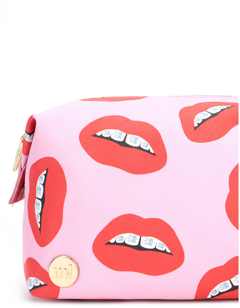 Mi-Pac x Tatty Devine Gold Wash Bag - Dental Bling Pink