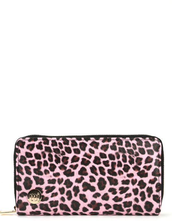 Mi-Pac Gold Zip Purse - Cheetah Pink