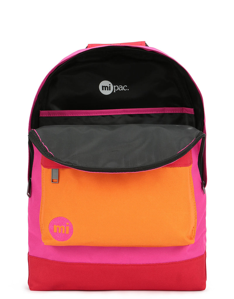 Mi-Pac Colour Block Backpack - Begonia Pink/Red