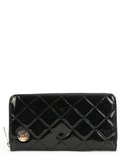 Mi-Pac Patent Quilt Zip Purse - Black