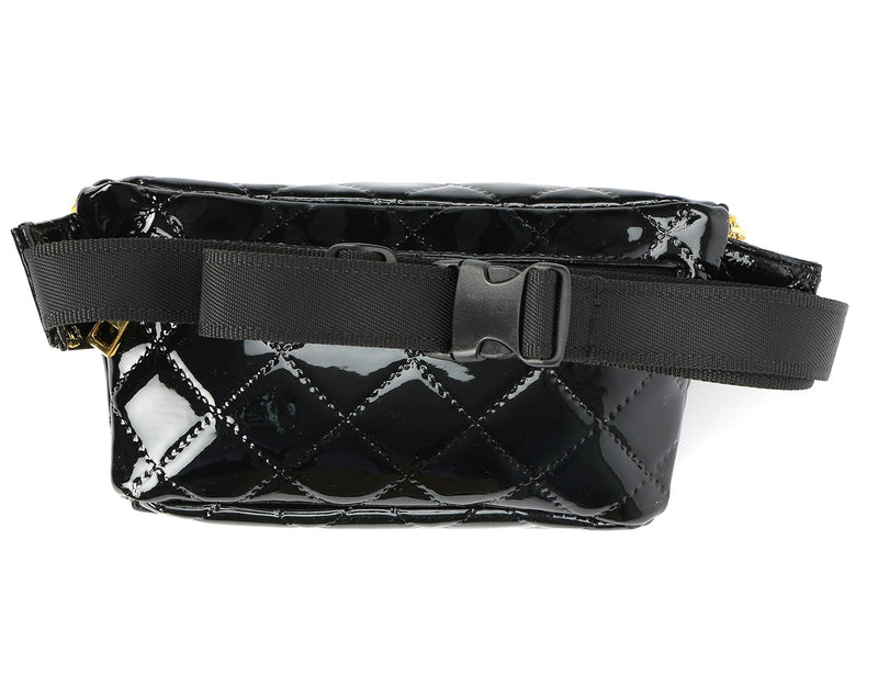 Mi-Pac Patent Quilt Bum Bag - Black