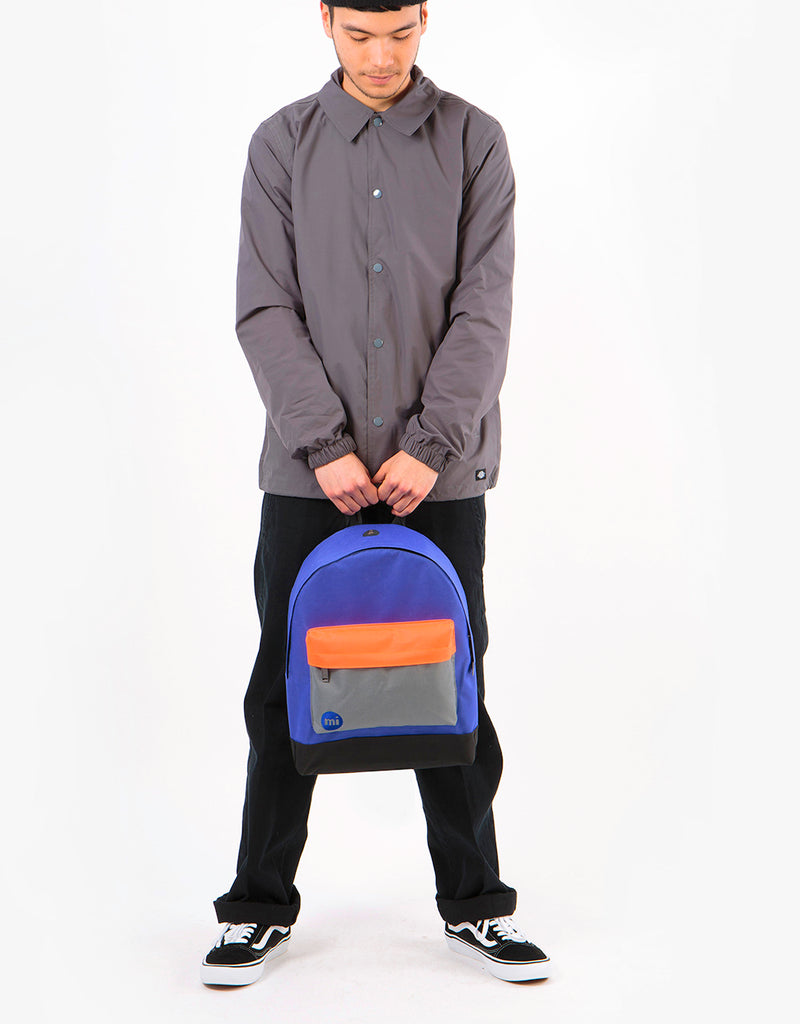 Mi-Pac Colour Block Backpack - Electric Blue/Grey