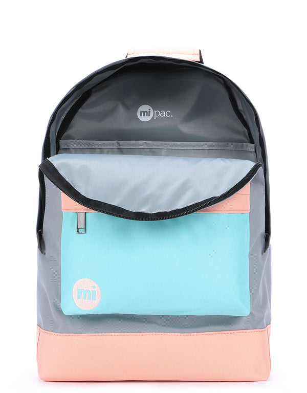 Mi-Pac Colour Block Backpack - Grey/Neo Mint