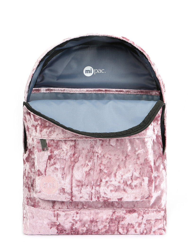 Mi-Pac Crushed Velvet Backpack - Pink