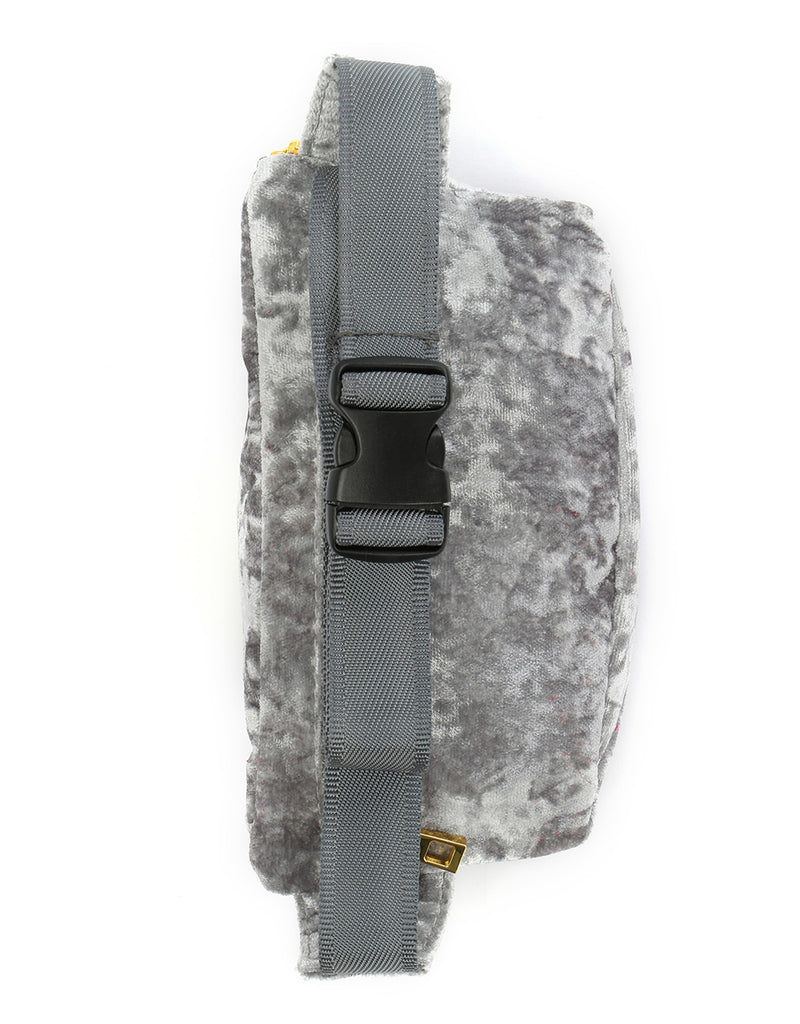 Mi-Pac Gold Crushed Velvet Slim Bum Bag - Grey