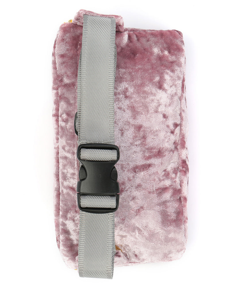 Mi-Pac Gold Crushed Velvet Slim Bum Bag - Pink