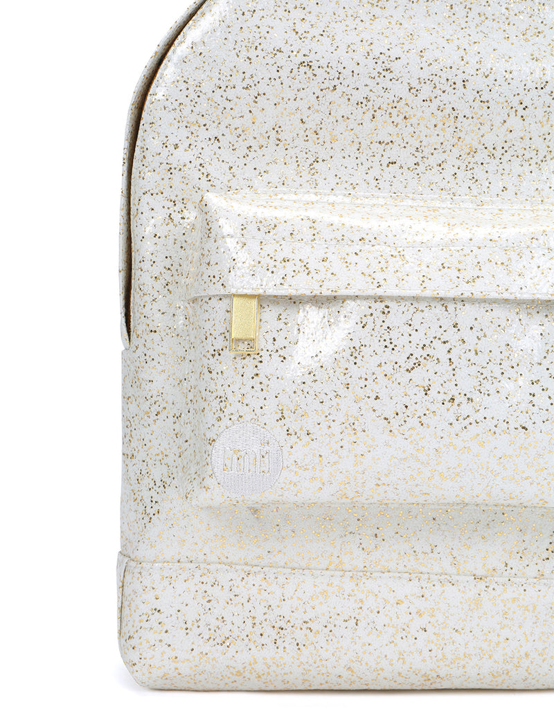 Mi-Pac Gold Glitter Mini Backpack - White/Gold