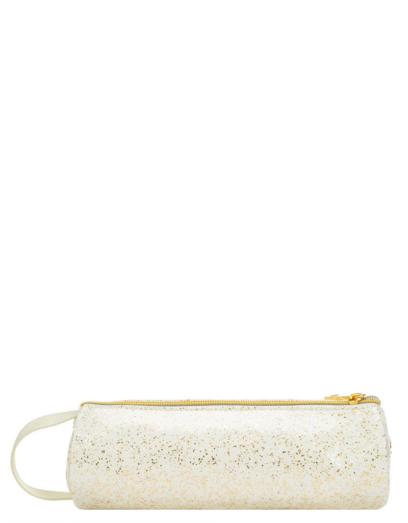 Mi-Pac Gold Glitter Pencil Case - White/Gold