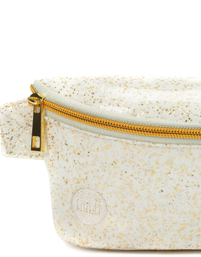 Mi-Pac Gold Glitter Slim Bum Bag - White/Gold