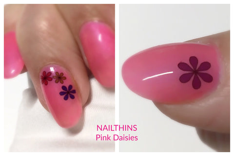 Pink Daisies Nail Decal Daisy Multi Color by NAILTHINS Full Nail Wrap