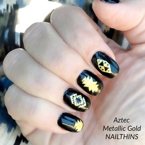 Metallic Gold Aztec Nail Decal Tribal nail art tattoo by NAILTHINS